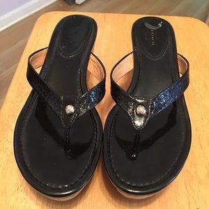 Coach Jorgina Black Wedge Sandals